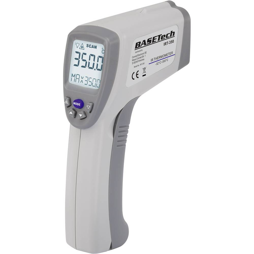 Infracrveni termometar IRT-350 Basetech, optika 10:1, mjerno područje -32 do +350 °C