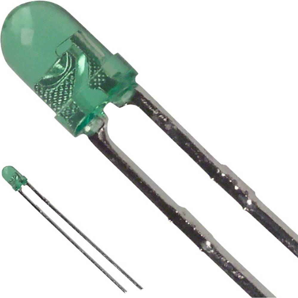 Ožičena LED dioda, zelena, okrogla 3 mm 40 mcd 30 ° 25 mA 2.2 V LUMEX SSL-LX3044GT