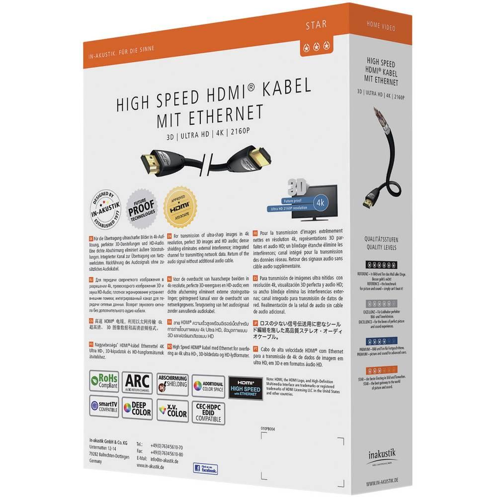 HDMI priključni kabel Inakustik [1x HDMI-vtič <=> 1x HDMI-vtič] 0.75m, črn, 00324507