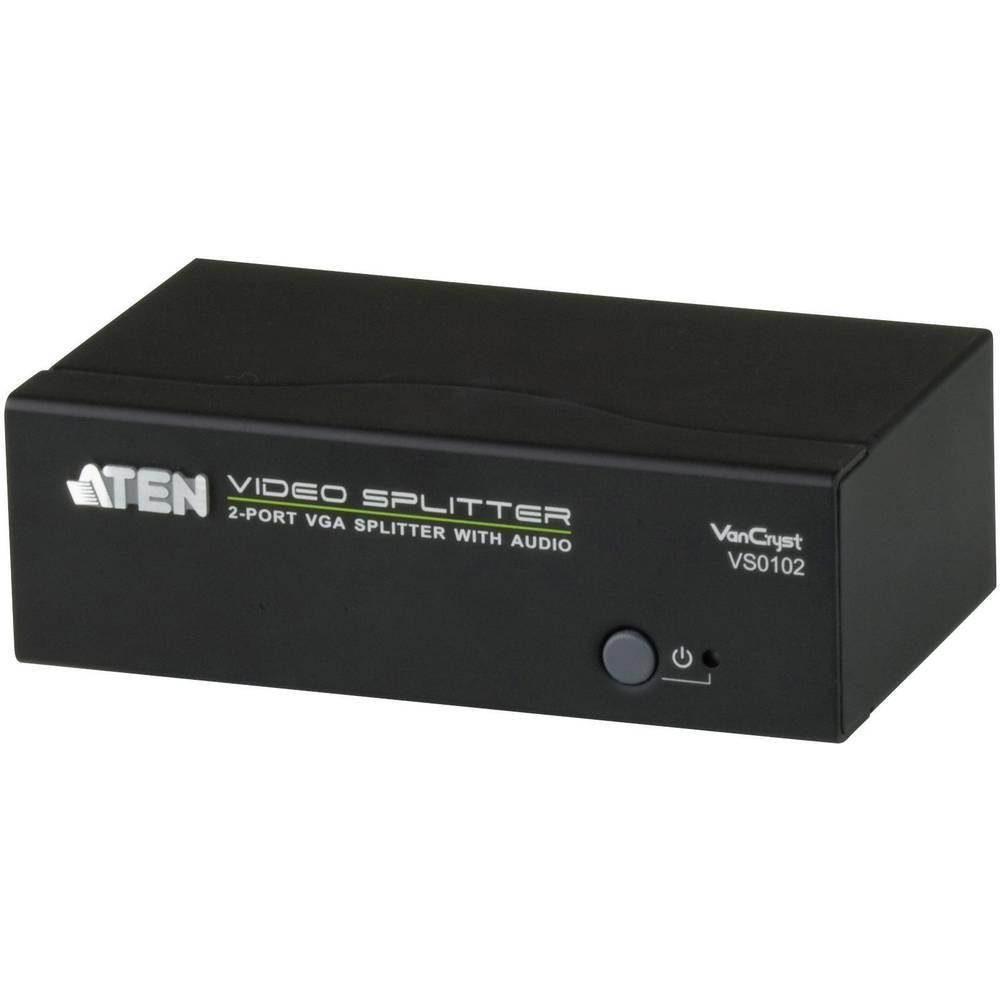 2-vratni VGA razdelilnik 1920 x 1440 pikslov ATEN črne barve