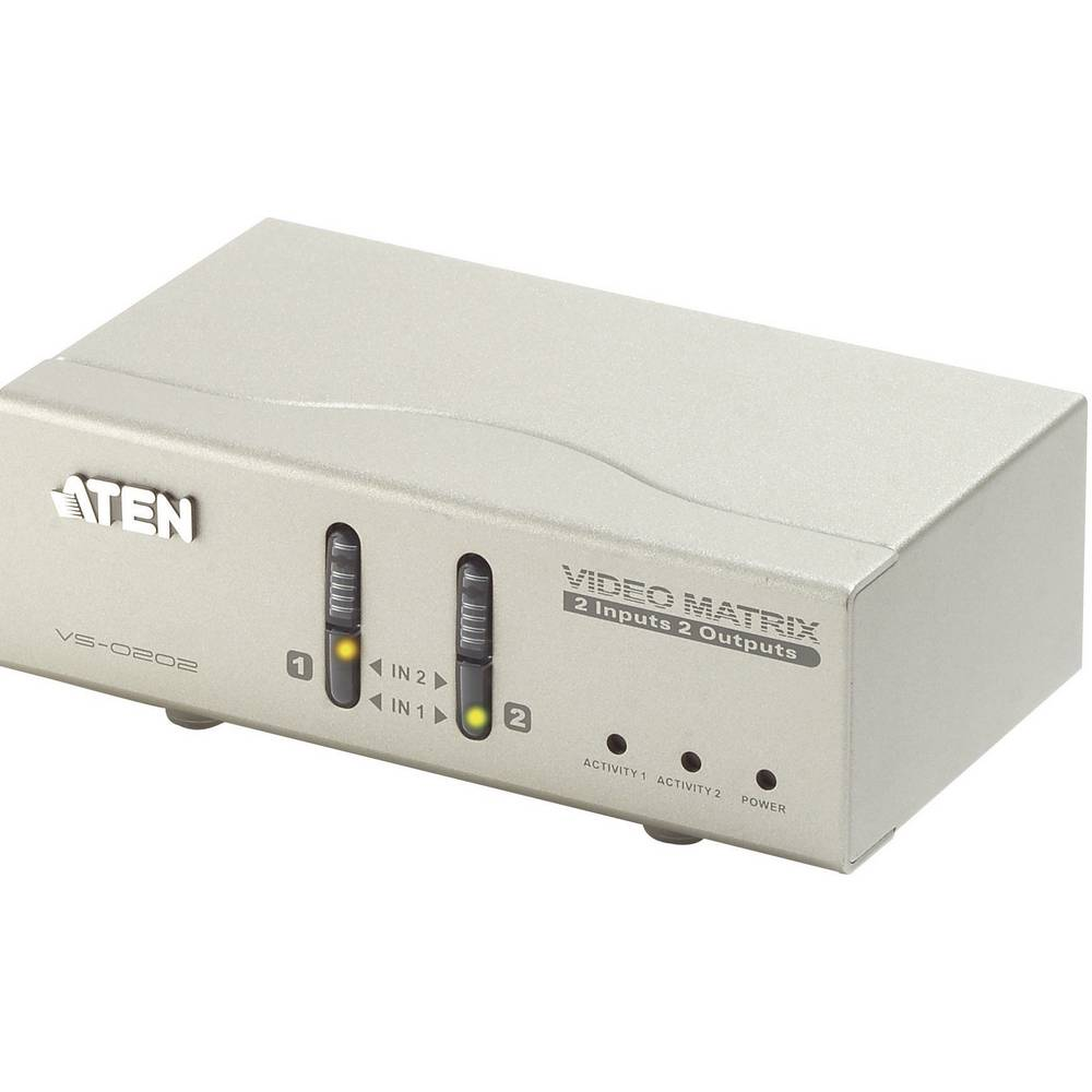 2-vratni VGA-Matrix preklopnik z daljinskim upravljalnikom 1920 x 1440 pikslov ATEN srebrne barve