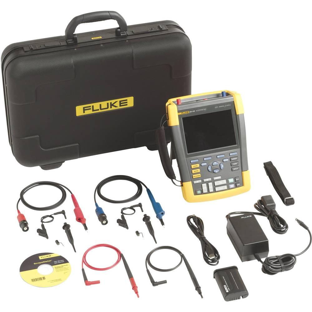 Ročni osciloskop (Scope-Meter) Fluke 190-202/S 200 MHz 2-kanalni, 2.5 GSa/s 10 kpts 8 Bit digitalni pomnilnik (DSO), tester komp