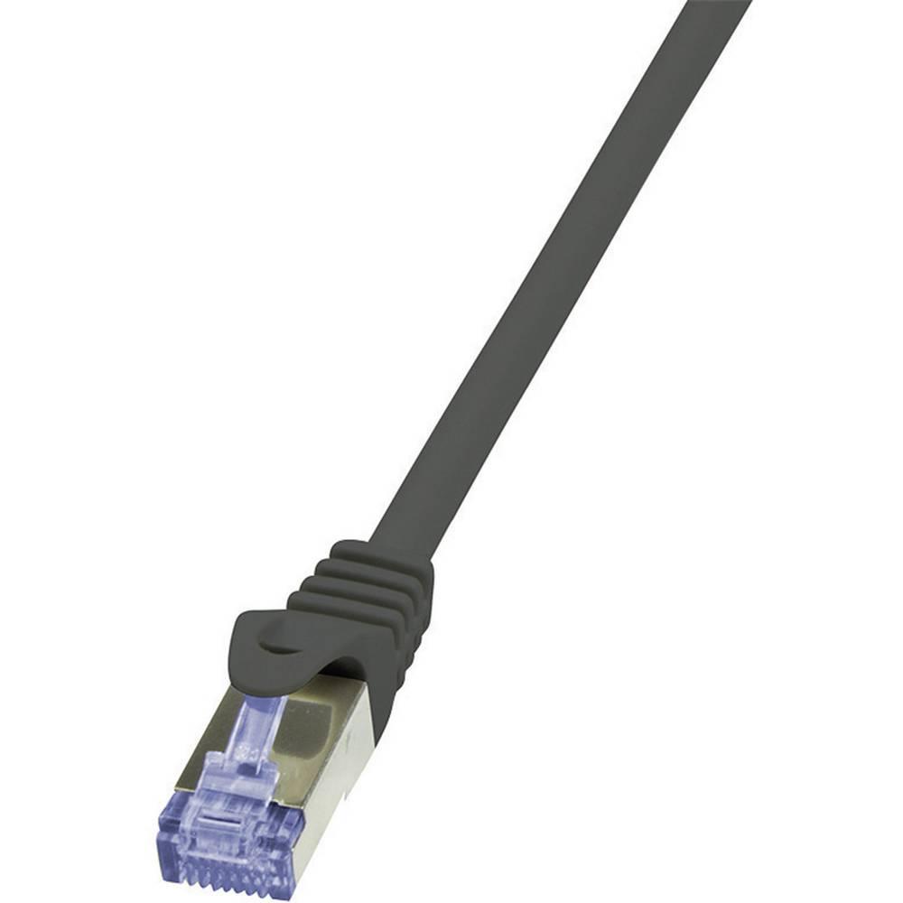 RJ45 mrežni kabel CAT 6A S/FTP [1x RJ45 utikač - 1x RJ45 utikač] 10 m crni nezapaljivi, zaštićeni CQ3093S LogiLink