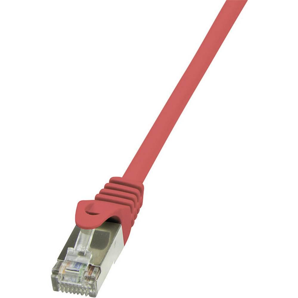 RJ45 mrežni kabel CAT 6 F/UTP [1x RJ45 utikač - 1x RJ45 utikač] 0.25 m crveni zaštićeni LogiLink CP2014S