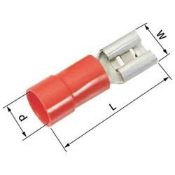 Ploščati tulec, širina: 4.8 mm, debelina: 0.8 mm 180 ° delno-izoliran, rdeče barve LappKabel 63101040 100 kosov