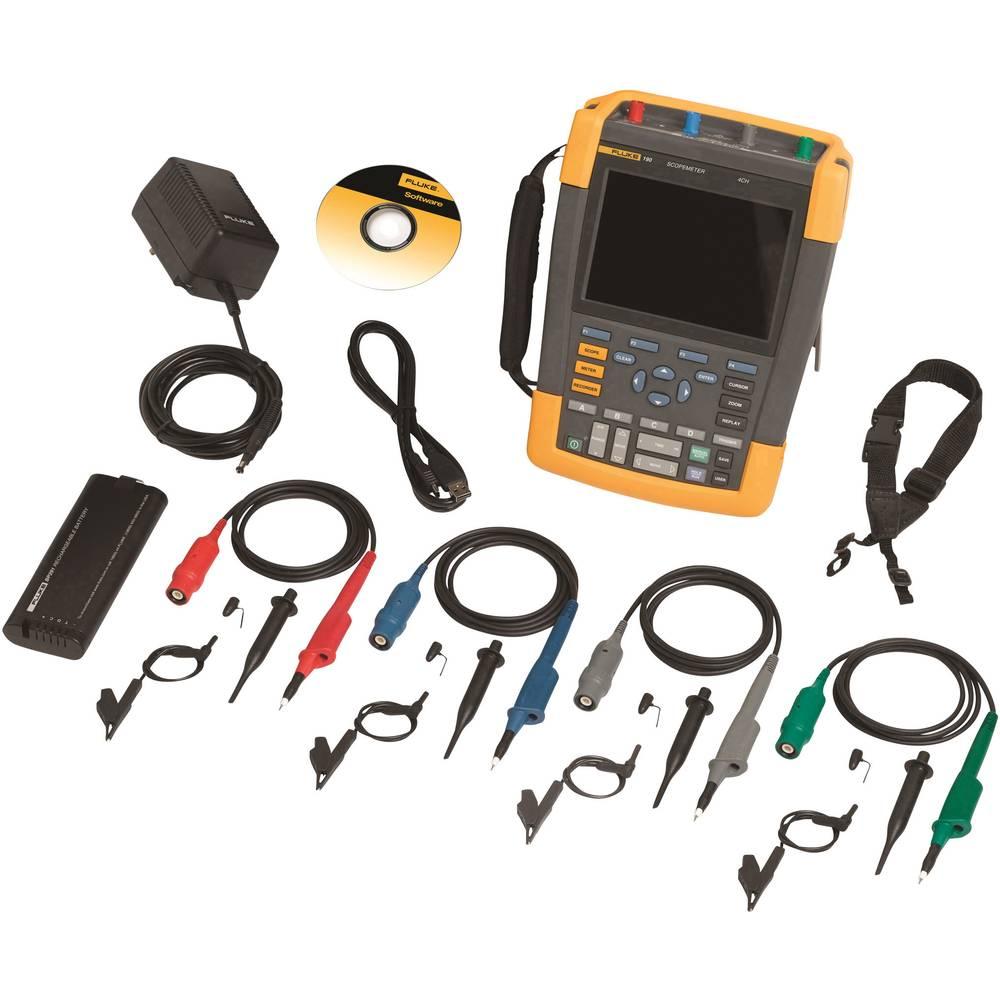 Ročni osciloskop (Scope-Meter) Fluke 190-104/EU 100 MHz 4-kanalni, 1.25 GSa/s 10 kpts 8 Bit digitalni pomnilnik (DSO), tester ko