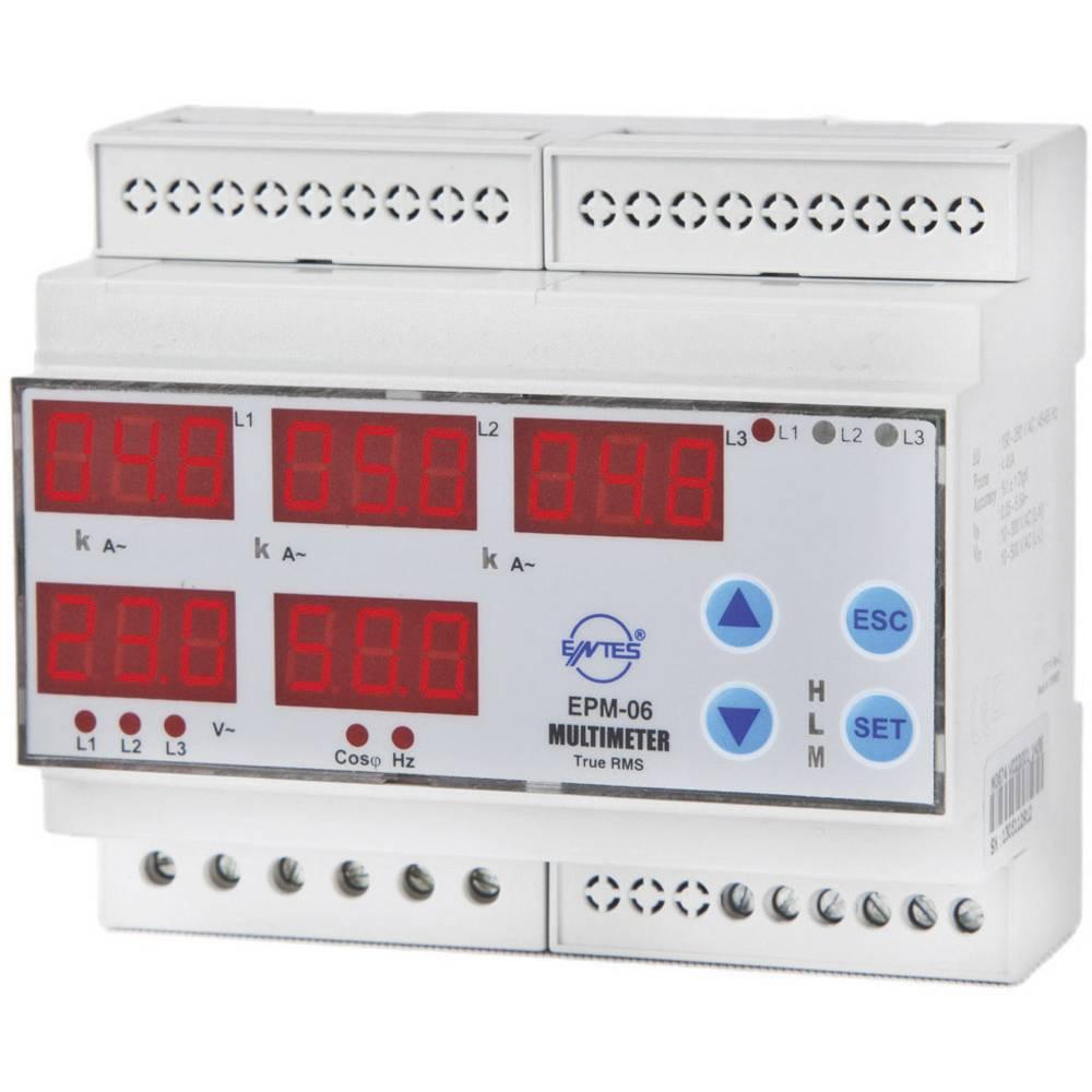 ENTES EPM-06-DIN programirivi 3-fazni ugradbeni (na DIN šinu) AC multimetar EPM-06-DIN napon, struja, frekvencija, sati rada