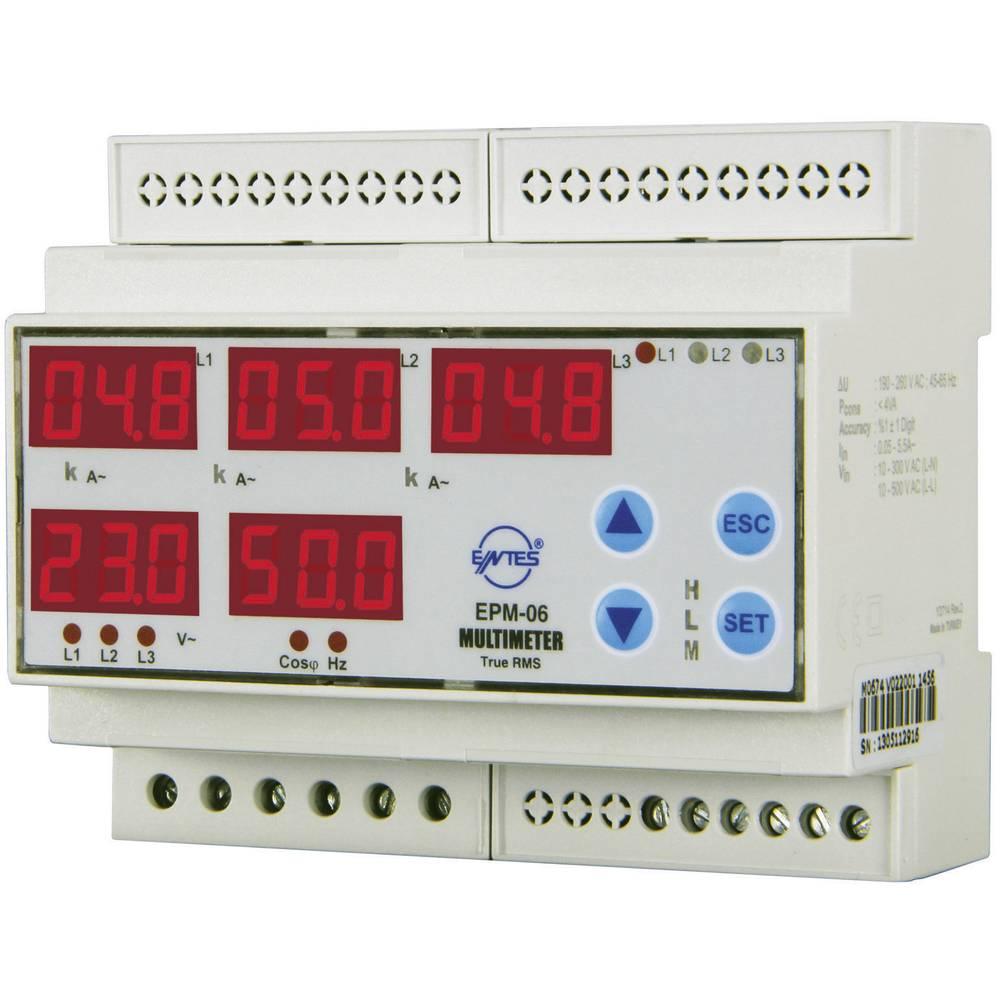 Programabilan 3-fazni AC multimetar EPM-06CS-DIN ENTES za DIN šinu napon, struja, frekvencija, radni sati, ukupni sati