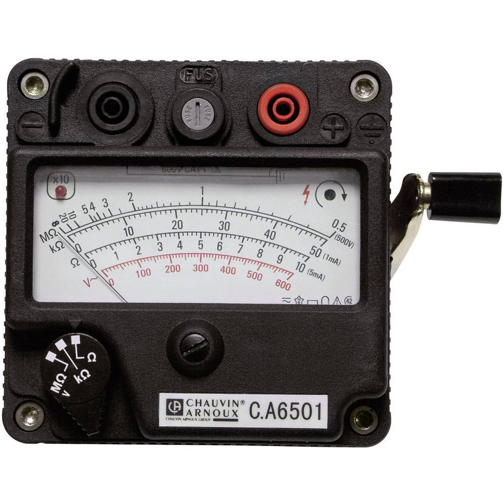 Chauvin Arnoux CA 6501 merilnik izolacije ročični merilnik, merilno območje 200 M ,500 V/DC, CAT II 600 V, CAT III 300 V