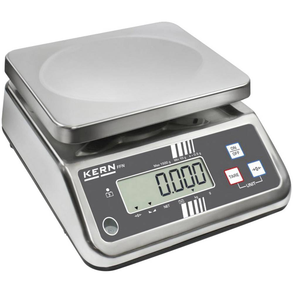 Stolna vaga Kern FFN 3K0.5IPN područje mjerenja (maks.) 3 kg očitljivost 0.5 g strujno napajanje, napajanje na baterije, srebrne