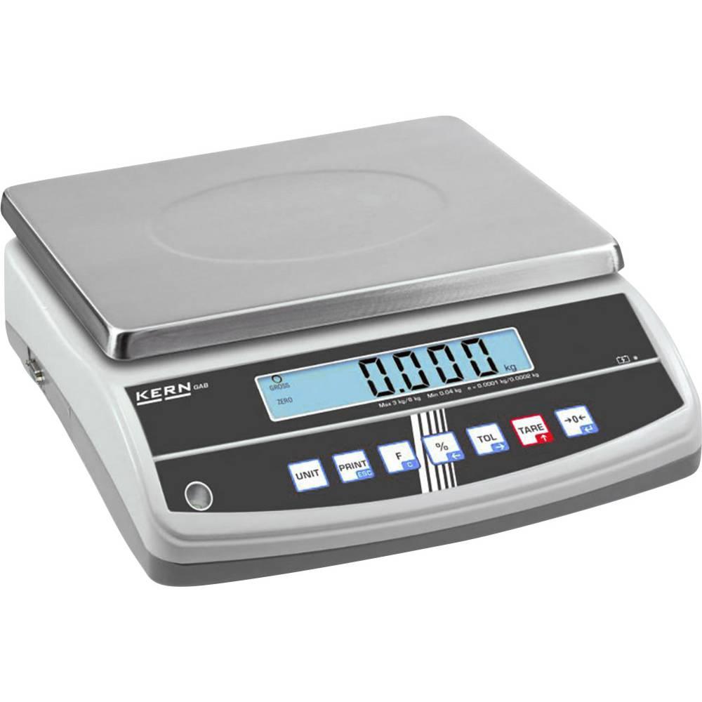Stolna vaga Kern GAB 30K0.2N područje mjerenja (maks.) 30 kg očitljivost 0.2 g strujno napajanje, napajanje na baterije, srebrne