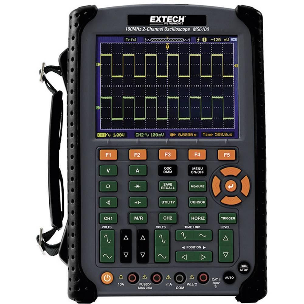 Ročni osciloskop (Scope-Meter) Extech MS6100 100 MHz 2-kanalni 500 MSa/s 512 kpts 8 Bit digitalni pomnilnik (DSO), multi-metersk