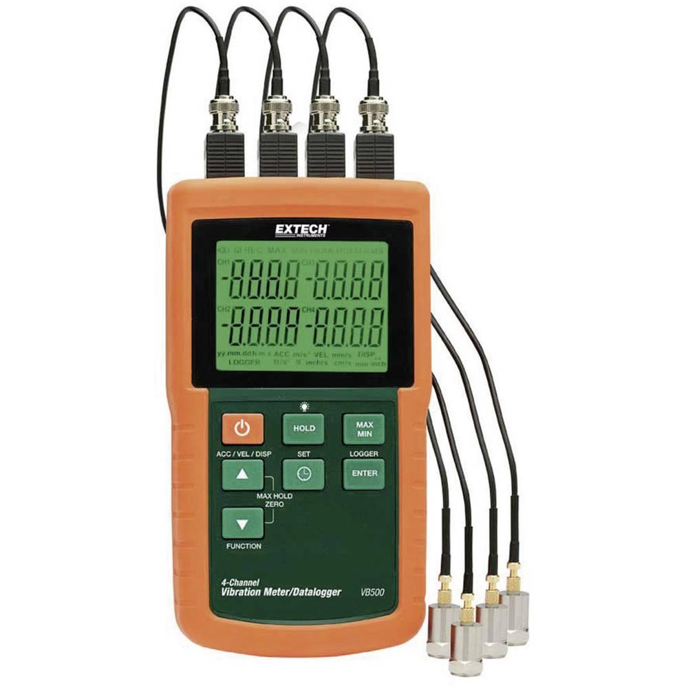 Extech VB500 4-kanalni merilnik vibracij z zapisovalnikom podatkov, merilnik hitrosti, merilnik pospeška, ±5 % merilnik p
