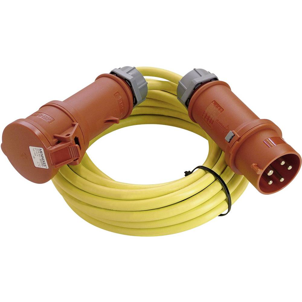Električni podaljševalni kabel [ CEE-vtič - CEE-sklopka] 32 A rumen 50 m z faznim pretvornikom AS Schwabe 60707