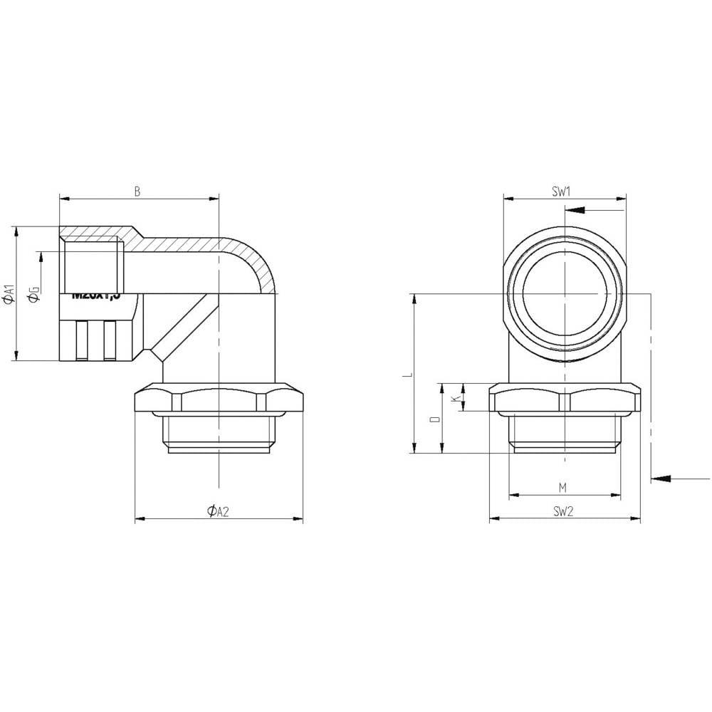 Vinkelförskruvning LappKabel SKINDICHT® RWV-M 25X1,5 O. E+D M25 Pressgjutgods Natur 10 st