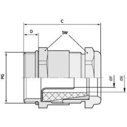 Kabelforskruning LappKabel SKINDICHT® SHVE PG 21/21/18/14 PG21 Messing Messing 25 stk