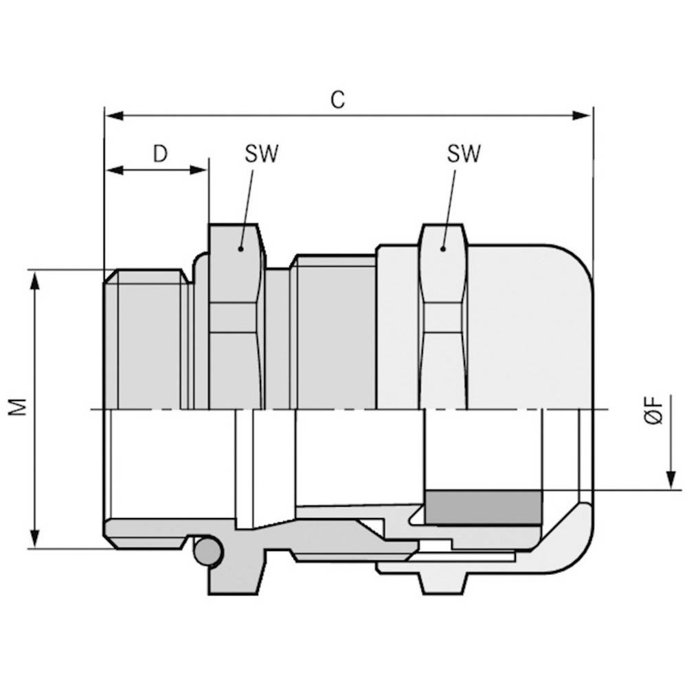 Kabelforskruning LappKabel SKINTOP® MS-M 20X1,5 ATEX XL M20 Messing Messing 50 stk