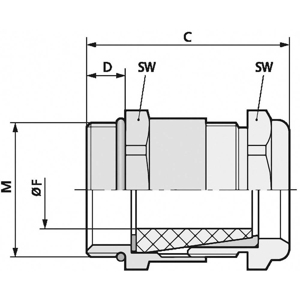 Kabelska uvodnica M20 medenina, naravna barva LappKabel SKINDICHT SHV-M-VITON 20X1,5/16/15 25 kosov
