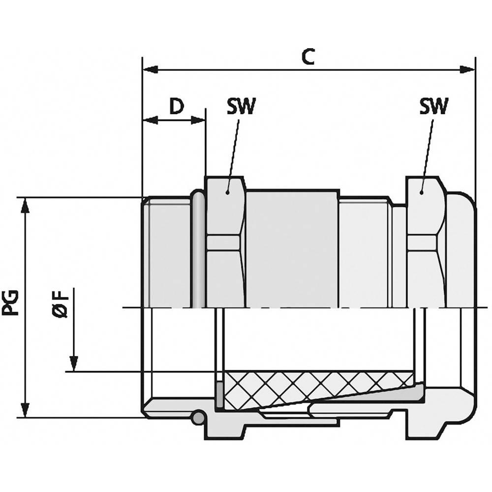 Kabelska uvodnica PG13.5 medenina, naravna barva LappKabel SKINDICHT SHV-VITON PG 13/11/11 25 kosov