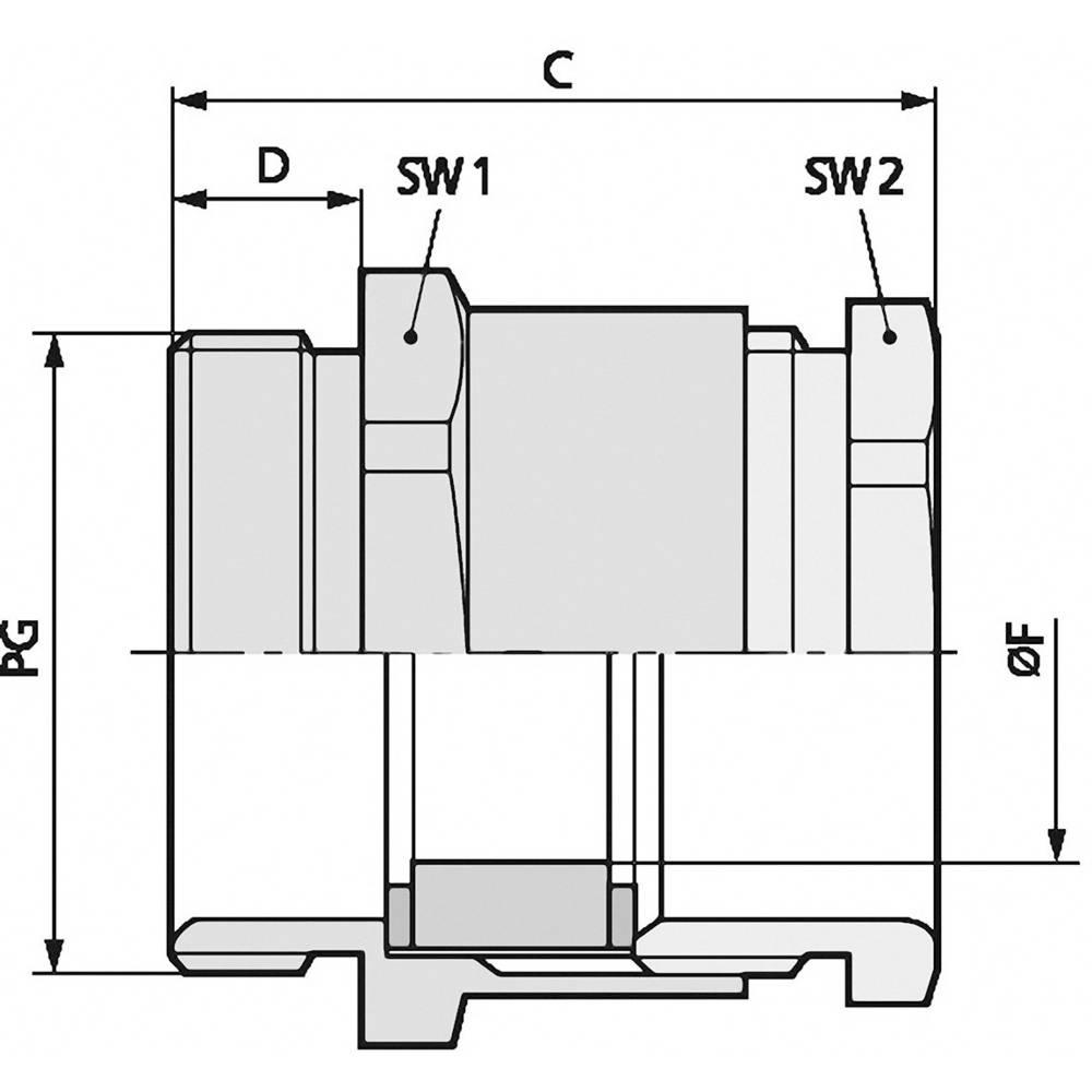 Kabelska uvodnica PG70 medenina, naravna barva LappKabel SKINDICHT SVRN PG 7005 100 kosov
