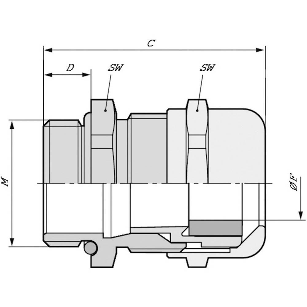 Kabelska uvodnica M20 medenina, naravna barva LappKabel SKINTOP MSR-M-XL 20X1,5 50 kosov
