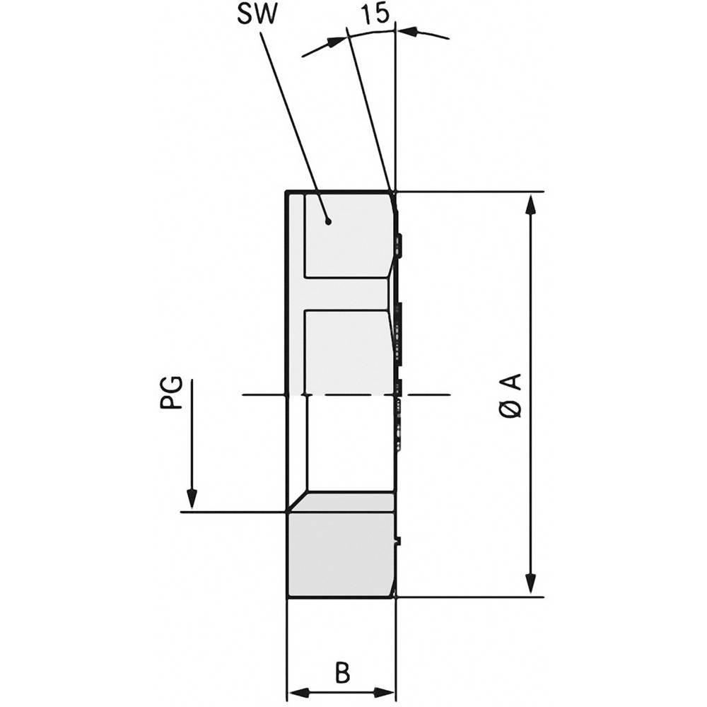Låsemøtrik LappKabel 53019080 PG42 Polyamid Sølvgrå (RAL 7001) 25 stk