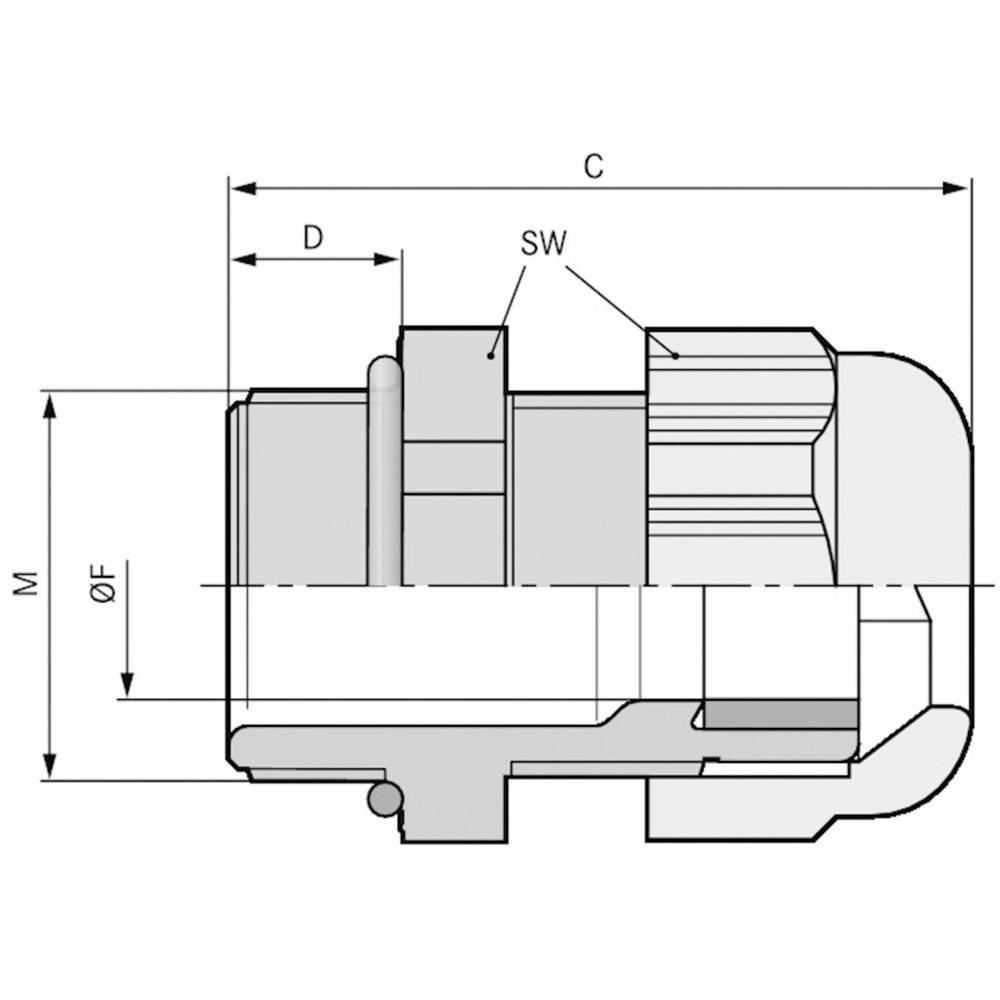 Kabelska uvodnica M40 poliamid, svetlo sive barve (RAL 7035) LappKabel SKINTOP ST-HF-M 40X1,5 RAL 7035 LGY 10 kosov