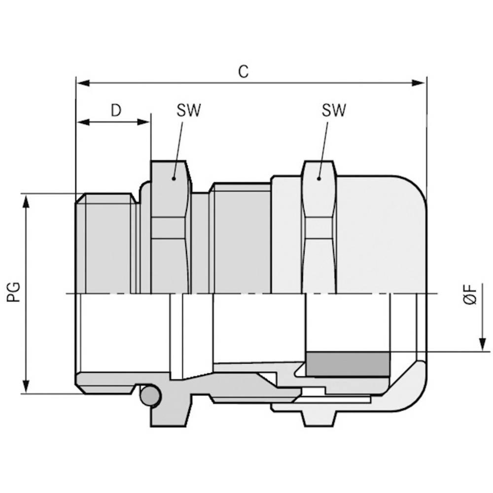 Kabelska uvodnica PG16 medenina, naravna barva LappKabel SKINTOP MS-XL PG 16 50 kosov