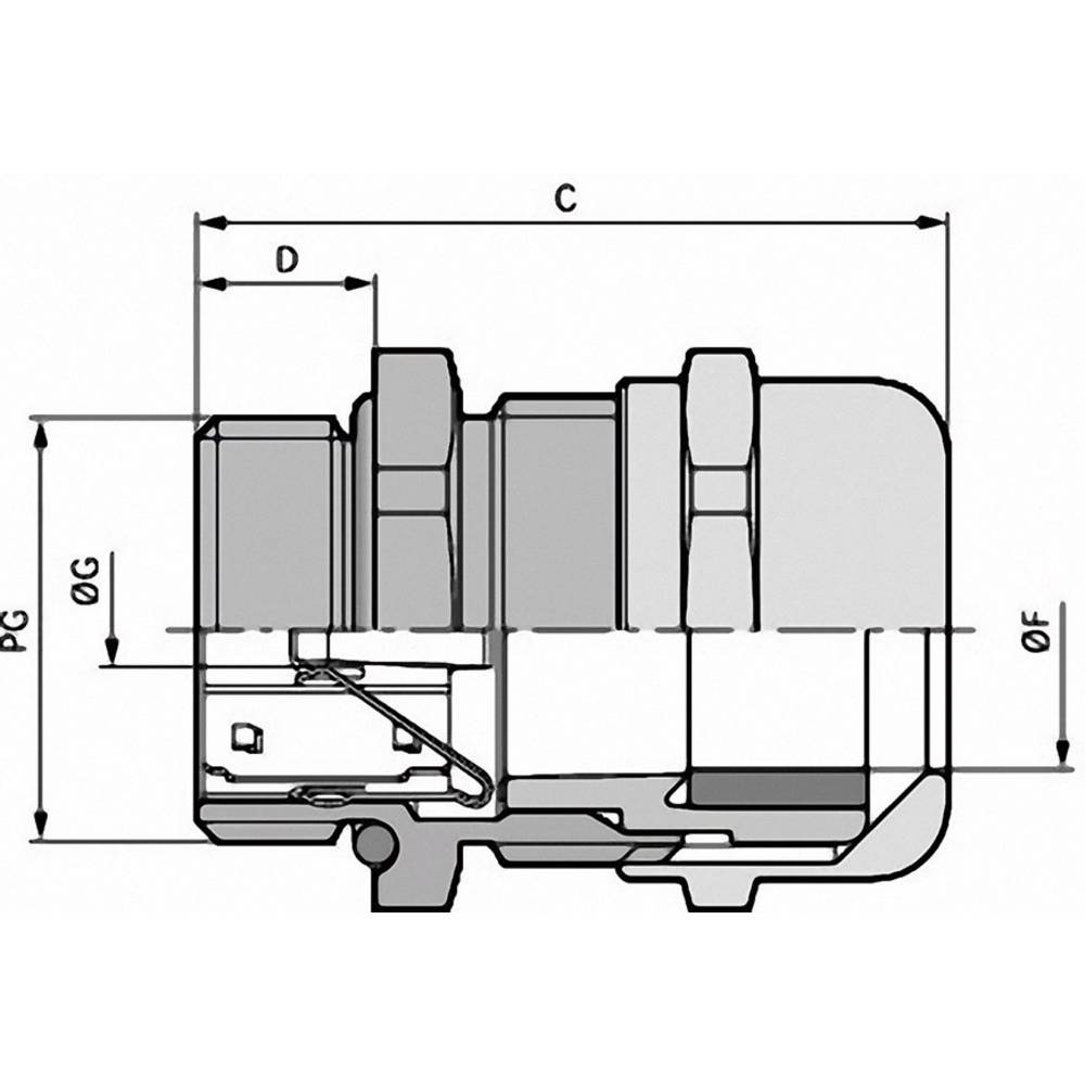 Kabelska uvodnica PG13.5 medenina, naravna barva LappKabel SKINTOP MS-SC-XL PG 13,5 25 kosov