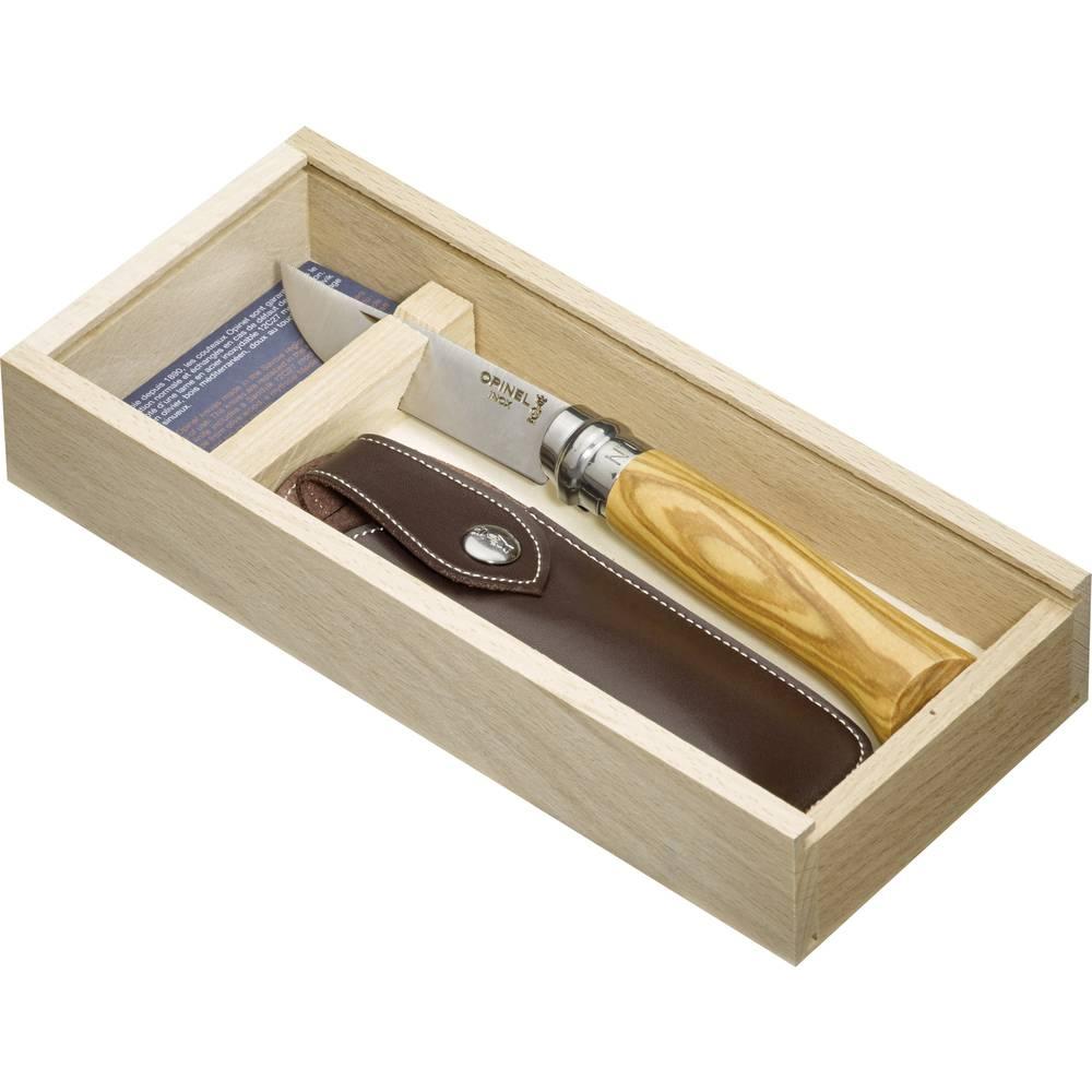 Opinel poklon set džepni nož maslinovo drvo vel.8 s futrolom u drvenoj kutiji Br. 8 nož set u drvenoj kutiji, 254139