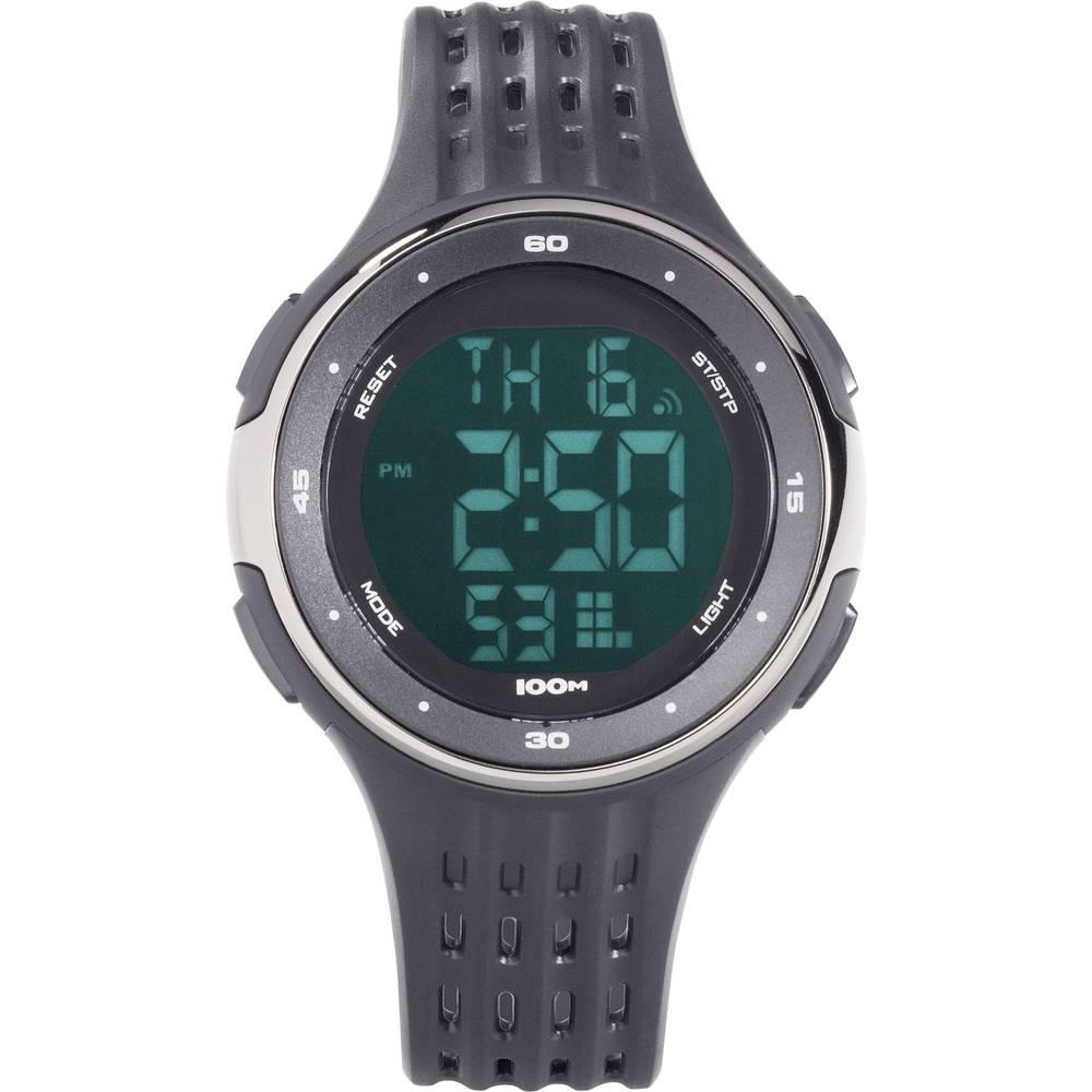 Digitalni ručni sat YP-11555-02 (Ø x V) 45 mm x 13 mm crna boja, kućište: ABS, materijal narukvice: poliuretan, Renkforce