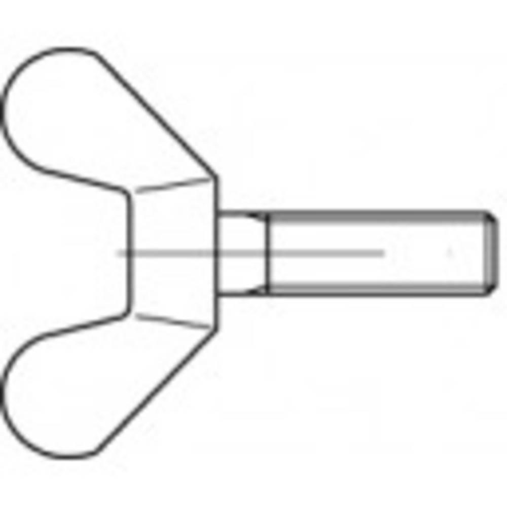 TOOLCRAFT 106345 Vingskruvar M6 20 mm DIN 316 Formbar galvaniskt förzinkad 100 st