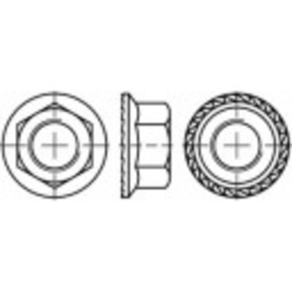Sexkants-låsmuttrar med fläns TOOLCRAFT M5 DIN 6923 Rostfritt stål A4 500 st