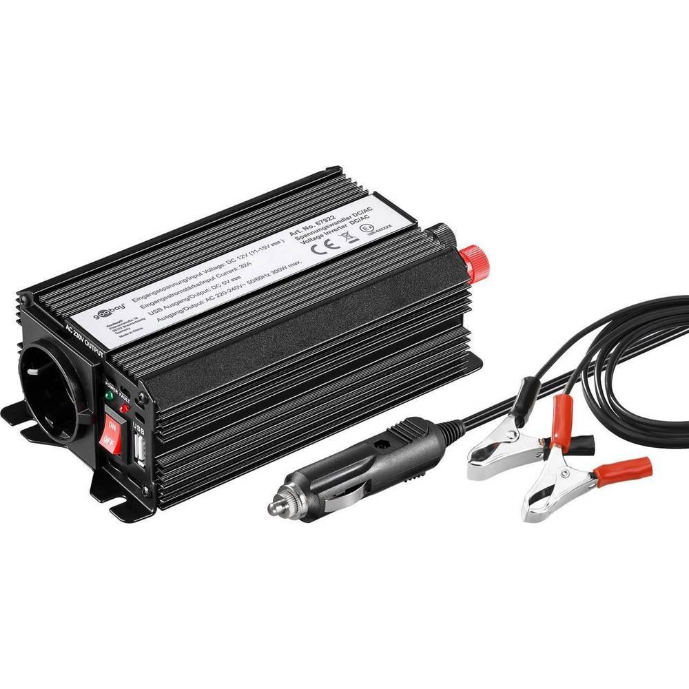 Razsmernik Goobay 67922 300 W 12 V/DC 12 - 13.8 V/DC vtič za cigaretni vžigalnik, varnostna vtičnica, USB