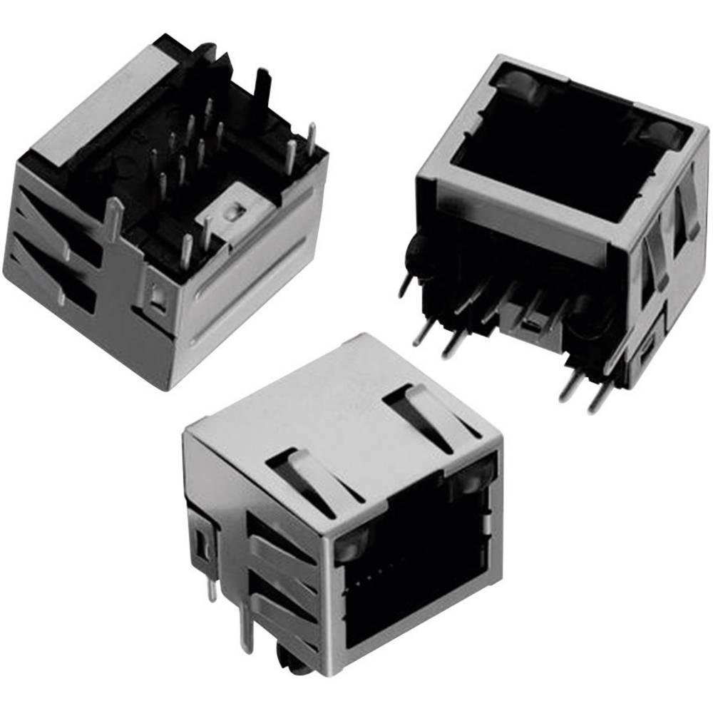 Modularni vtič, Tab Up, zaščiten z LED & EMI-Finger 8P8C WR-MJ vtičnica, vgraden horizontalen, polov: 8P8C črne barve Würth Elek