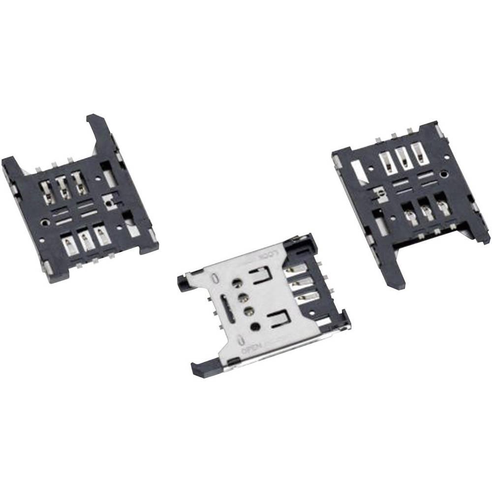 WR-CRD SIM-reža za kartico (Mini SIM) s pokrovom, polov: 6 Würth Elektronik vsebuje: 1 kos