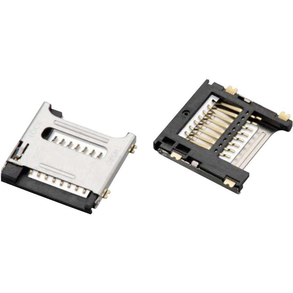 WR-CRD Micro SD-reža za kartico s pokrovom, 8 pinov, polov: 8 Würth Elektronik vsebuje: 1 kos