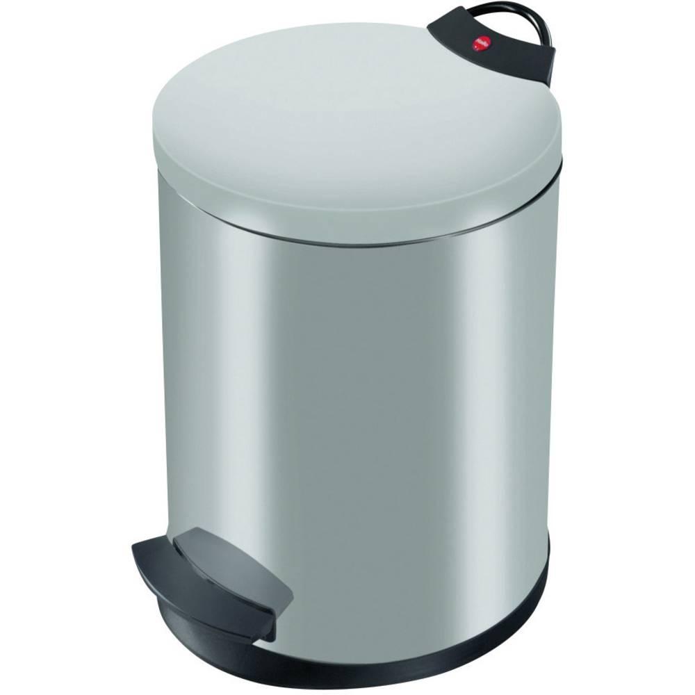 Koš za odpadke 13 l Hailo T2 M (premer x V) 270 mm x 375 mm srebrne barve, nožno odpiranje 1 kos