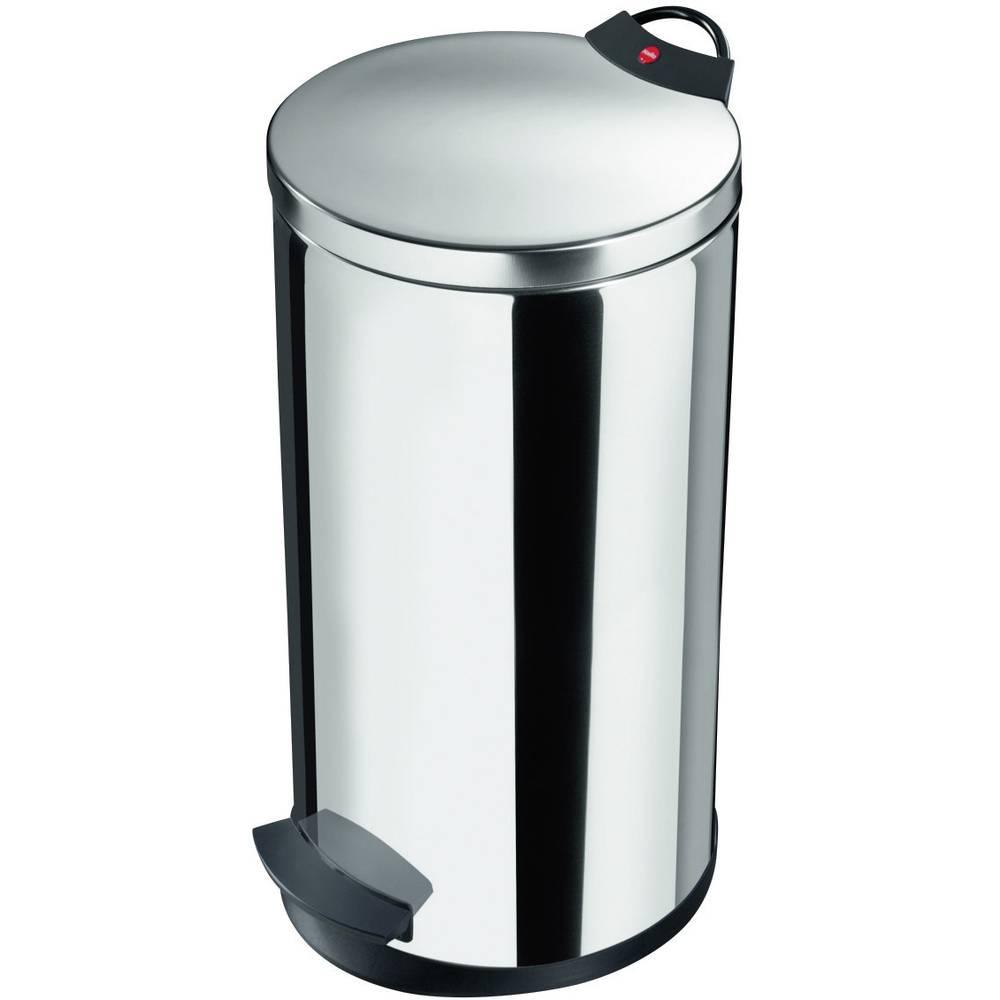 Koš za odpadke 20 l Hailo T2 L (premer x V) 270 mm x 595 mm nerjaveče jeklo, nožno odpiranje 1 kos
