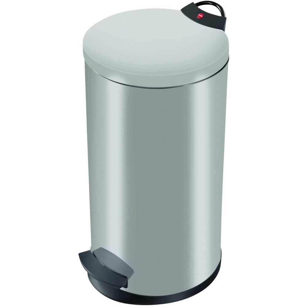 Koš za odpadke 20 l Hailo T2 L (premer x V) 270 mm x 595 mm srebrne barve, nožno odpiranje 1 kos