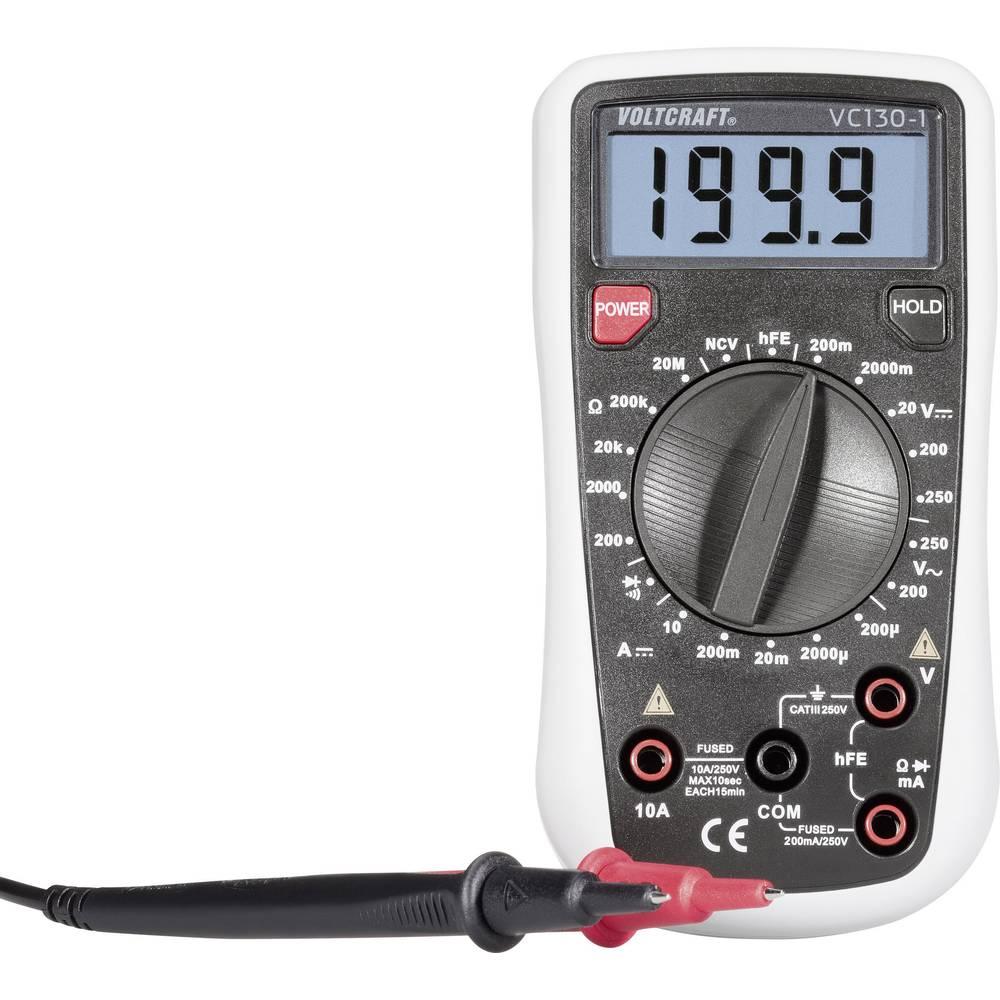 Ročni multimeter, digitalni VOLTCRAFT VC130-1 kalibracija narejena po: delovnih standardih, CAT III 250 V število znakov na zasl