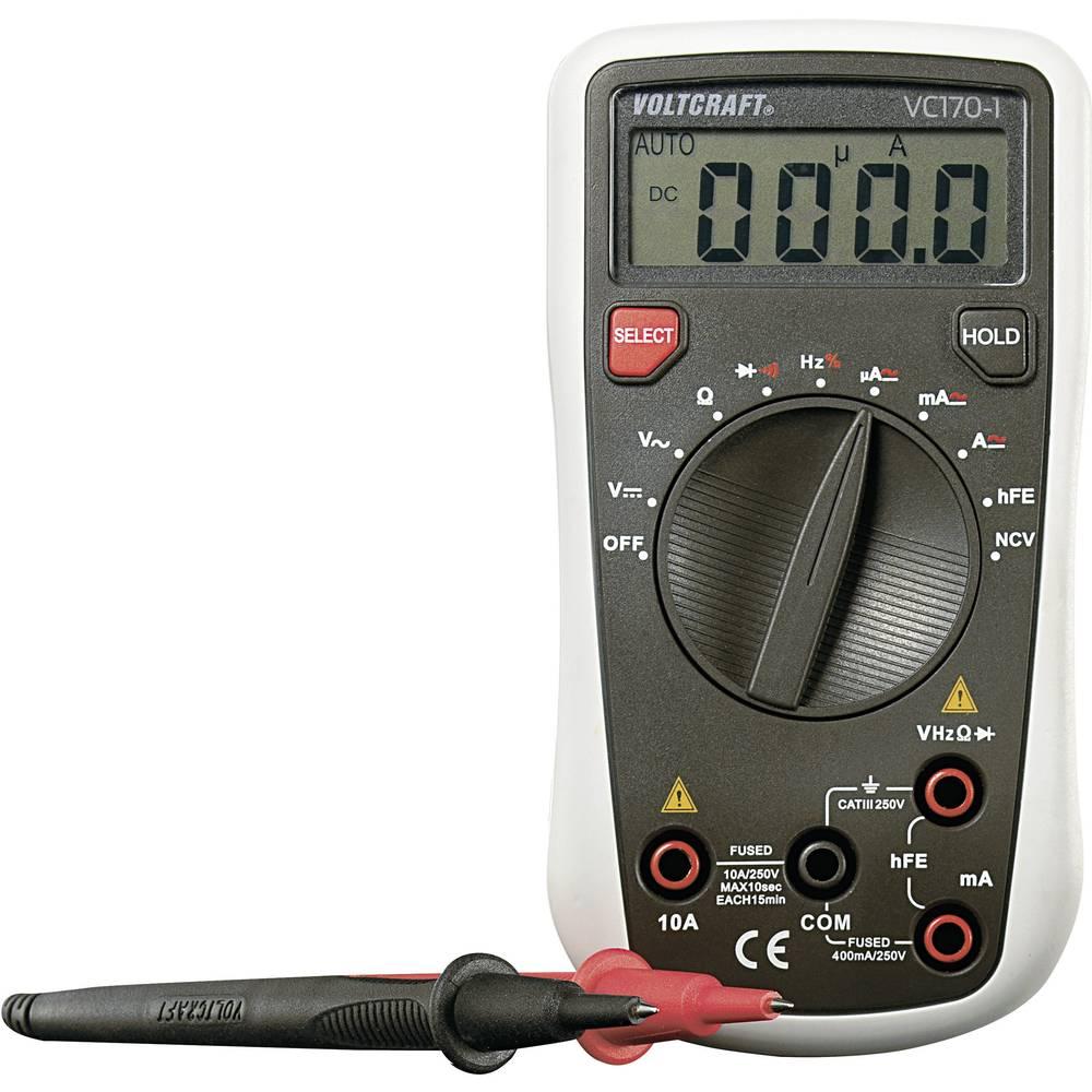 Ročni multimeter, digitalni VOLTCRAFT VC170-1 kalibracija narejena po: DAkkS CAT III 250 V število znakov na zaslonu: 4000