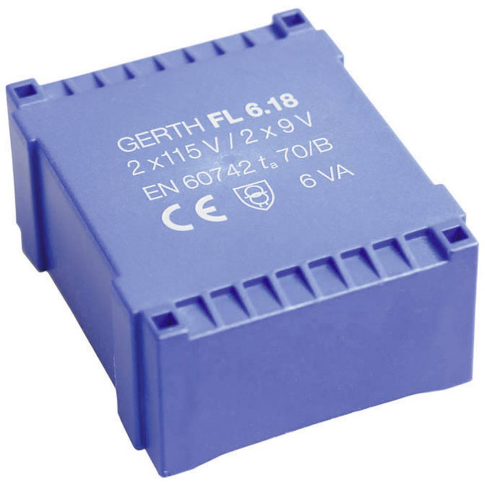 UI 30/10,5 Ploščati transformator, primarni: 2 x 115 V sekundarni: 2 x 6 V 500 mA 6 VA FL6.12 Gerth