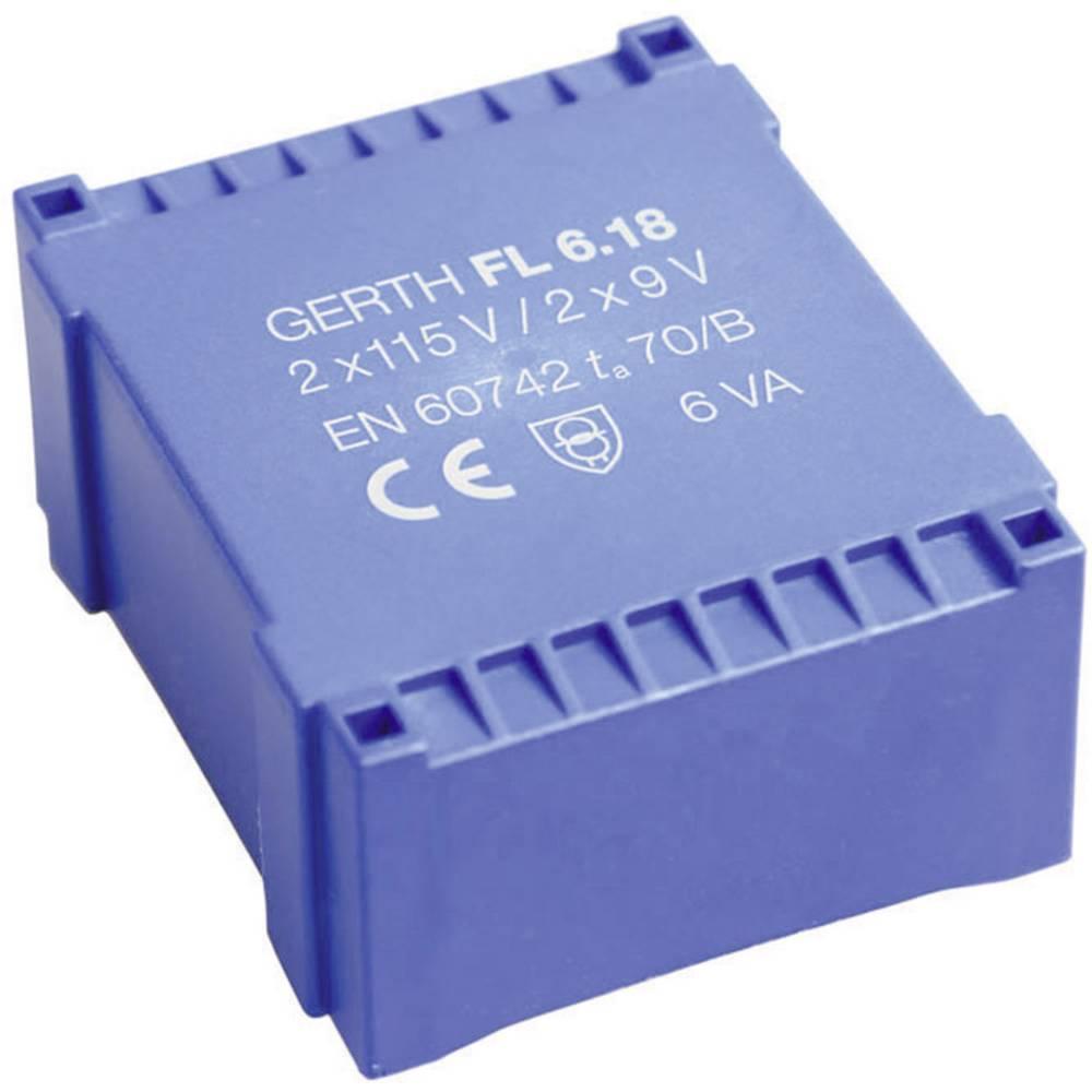 UI 30/10,5 Ploščati transformator, primarni: 2 x 115 V sekundarni: 2 x 7.5 V 400 mA 6 VA FL6.15 Gerth