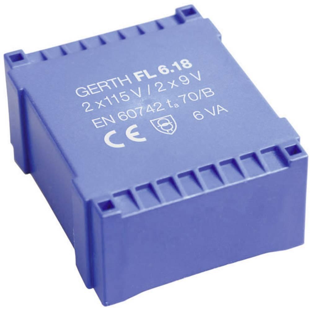 UI 30/10,5 Ploščati transformator, primarni: 2 x 115 V sekundarni: 2 x 18 V 166 mA 6 VA FL6.36 Gerth
