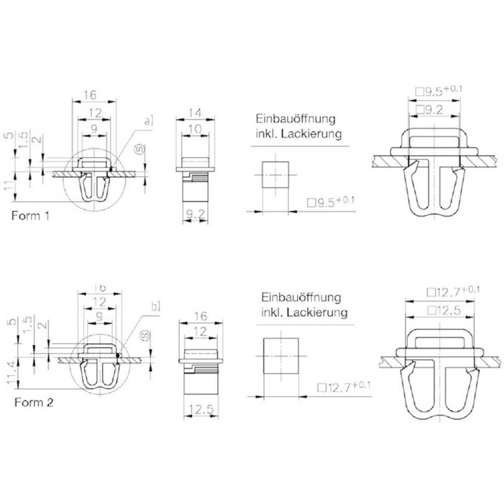 Stiksokkel PB Fastener 1070-SL-30-127 1070-SL-30-127 Polyamid Sort 1 stk