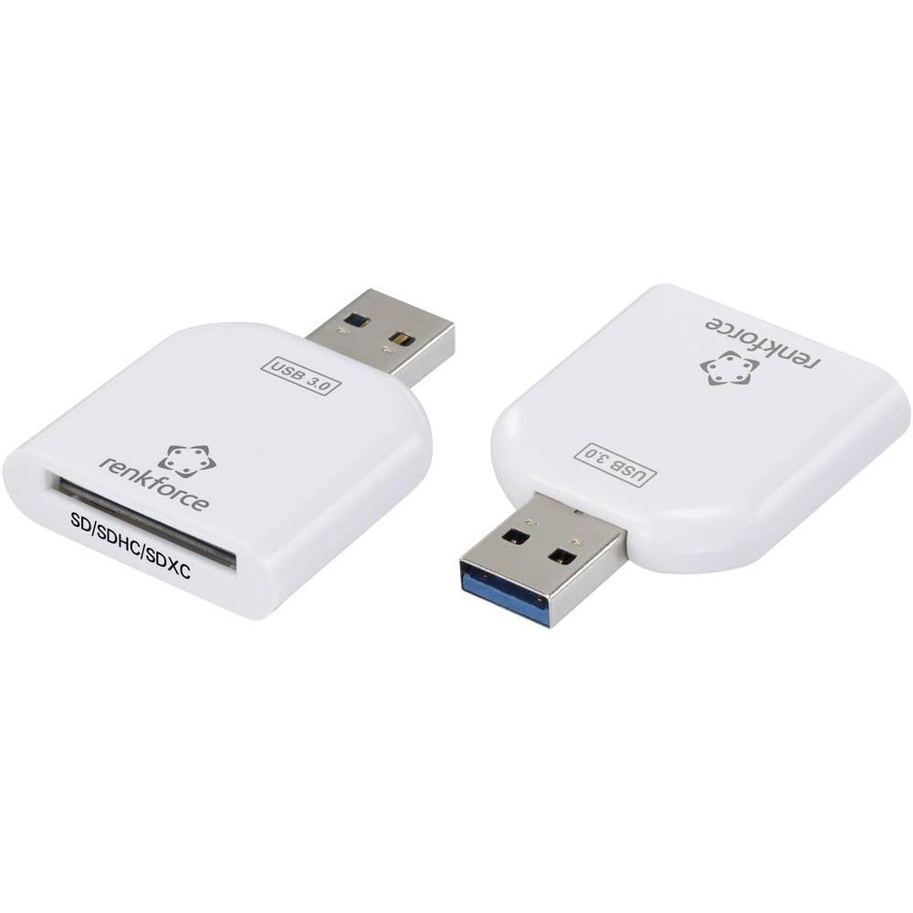 Vanjski čitač memorijskih kartica USB 3.0 Renkforce CR10e-Slim bijeli