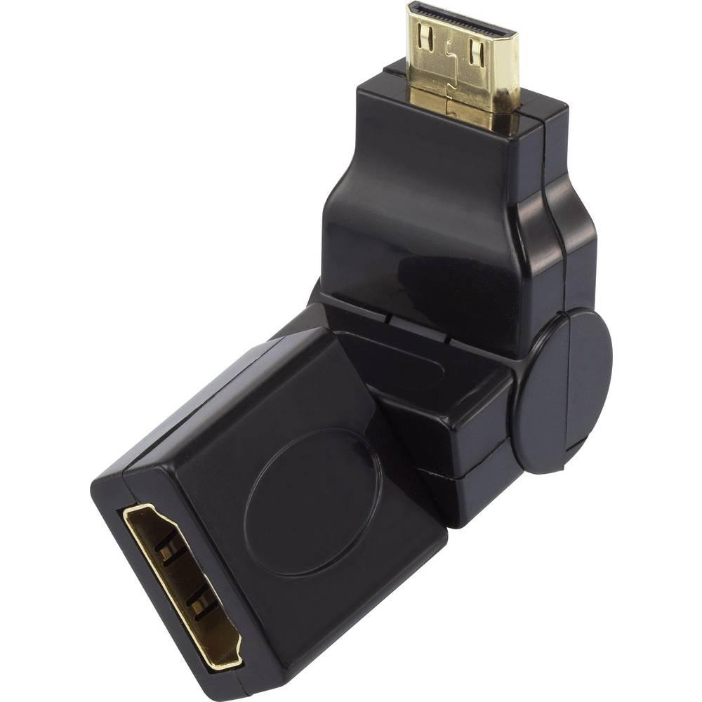 HDMI adapter [1x HDMI-utikač C Mini 1x HDMI-utikač] crn pozlaćeni kontakt