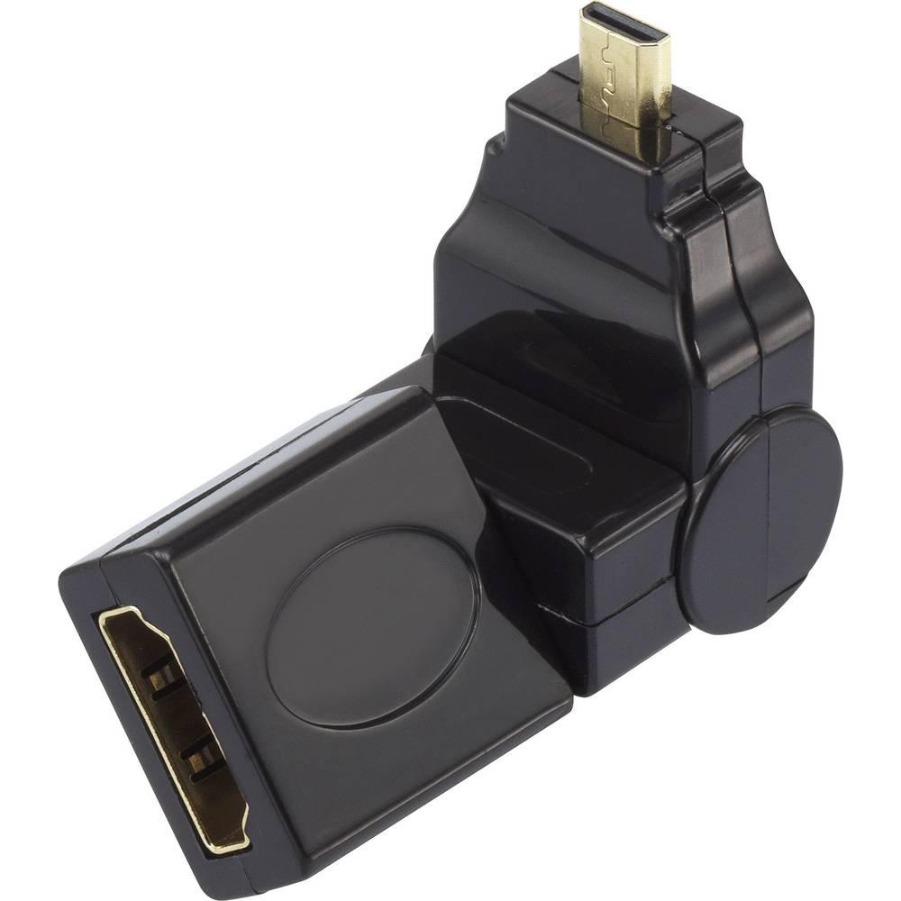 HDMI adapter [1x HDMI-utikač D Micro 1x HDMI-utikač] crn pozlaćeni kontakt