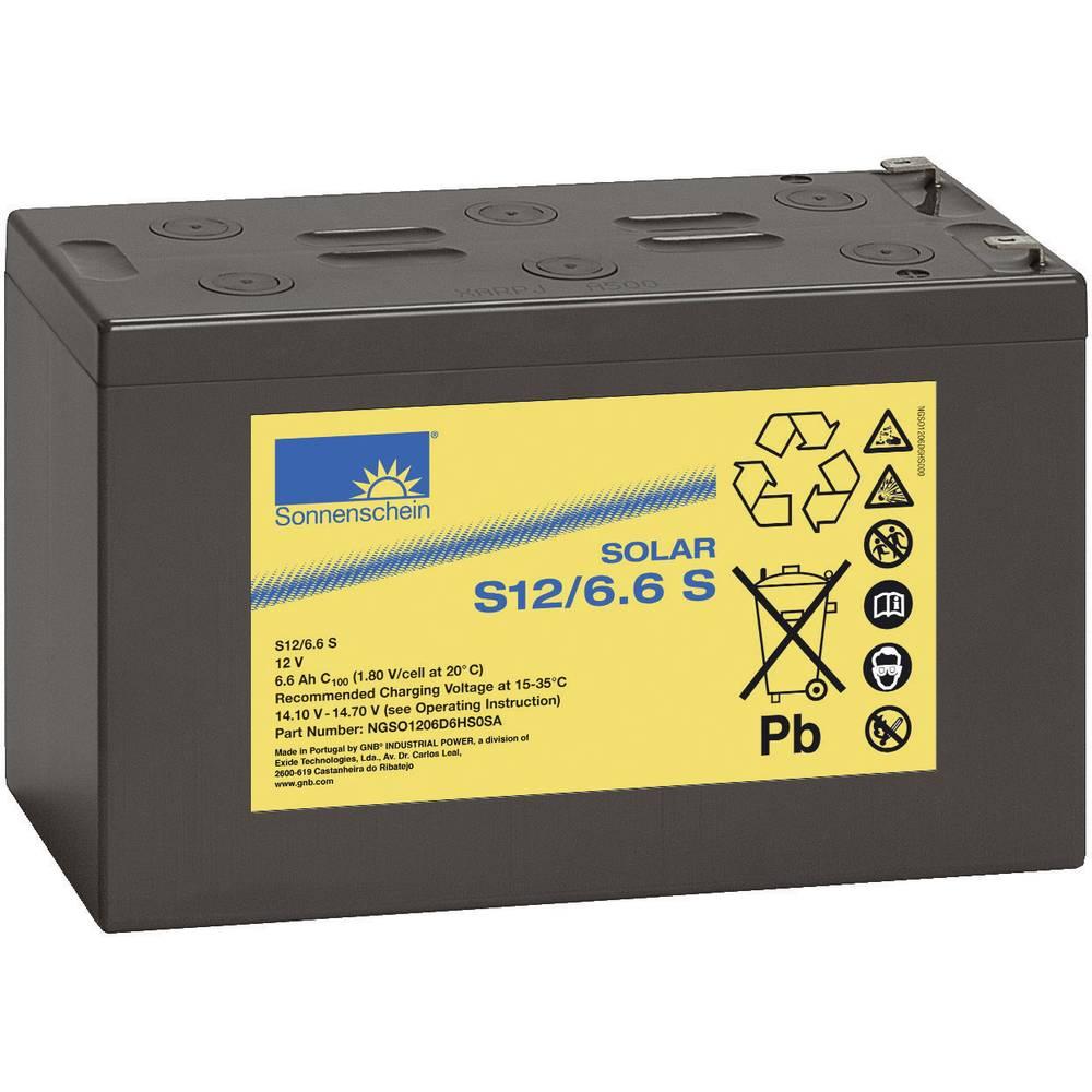 Solarni akumulator 12 V 6.6 Ah GNB Sonnenschein 071 98 43200 svinčevo-gelni 152 x 99 x 66 mm ploščati vtič 4.8 mm